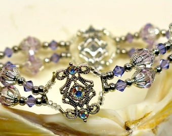 Tanzanite & Violet with Aurora Borealis Swarovski Crystal Stretch Bracelet
