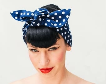 50s Pin Up Rock Rockabilly Navy Blue headband headscarf
