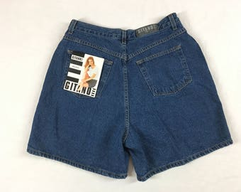 "NOS Gitano High Waisted Denim Shorts L XL 30"" W Vintage Mom Jean Shorts Grunge Jean Hipster 90s 1990s Original Tags"