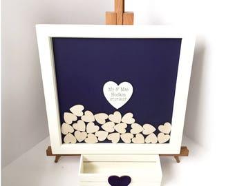 Wedding guest book - Guest book - Guest book ideas - Wood guest book - Drop top guest book - Heart guest book - Purple guest book - 70