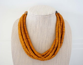 Mustard Wooden Bead Statement Necklace