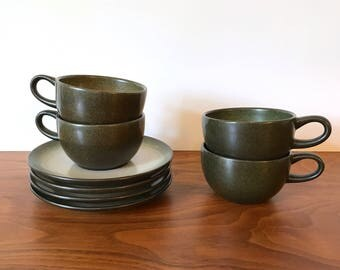 4 Vintage Heath Ceramics Coupe Tea Cups and Saucers in Sea and Sand Glaze