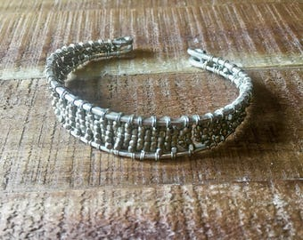 Vintage Bracelet-Beaded Silver Wire