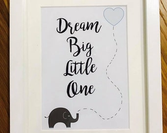 New Baby print personalised - Dream Big Little One - Nursery Baby print with Elephant personalised - Nursery Decor - Baby boy and Girl