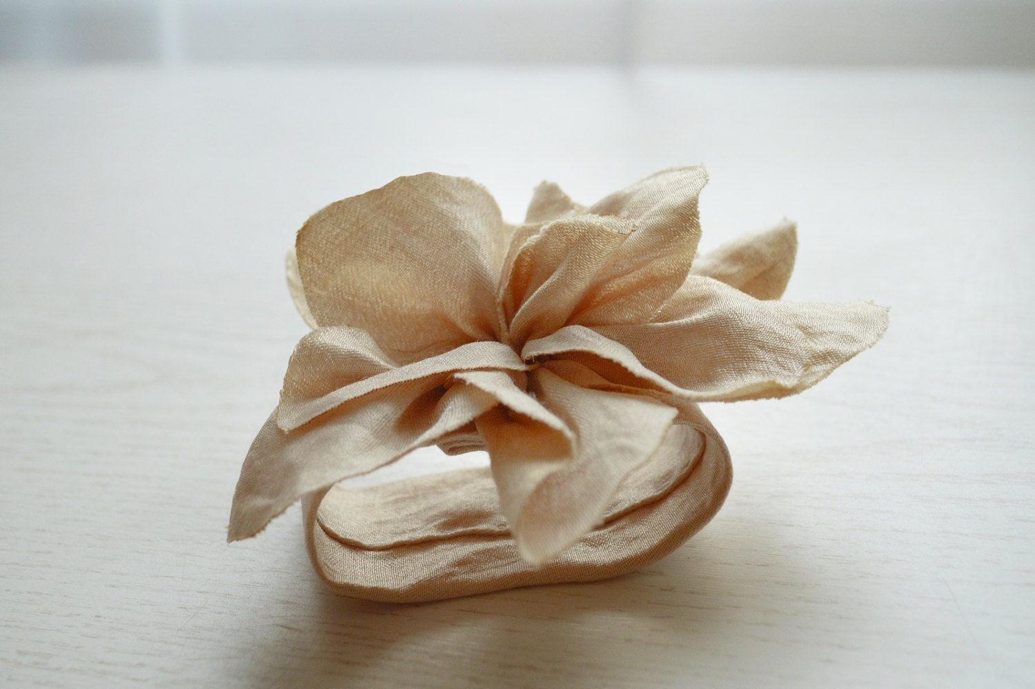 Champagne Color Napkin Ring Floral Wedding Napkin Ring Napkin