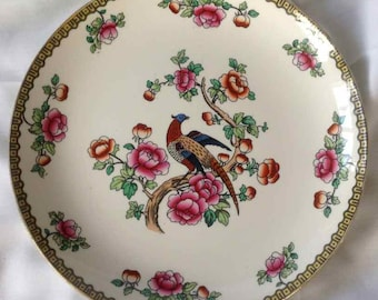 "Antique ""F. Winkle & Co. - Whieldon Ware"" (Pheasant Pattern) Semi-Porcelain Dinner Plate - Made in England - 1908 to 1911"
