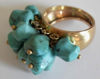 A Gold and Turquoise Dress Ring