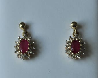 A Pair of 9ct Ruby and Diamond Earrings