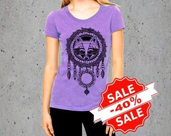 Sale! Womens FOX DREAMCATCHER Shirt Fox Tshirt)Boho Shirt-Girlfriend Gift-Native American Apparel Festival Clothing-Graphic Tee,instagram
