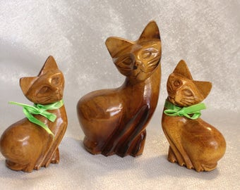 Three Wood Cats Carved Cats with green ribbon, Animal Carving Cat, Three wood cats