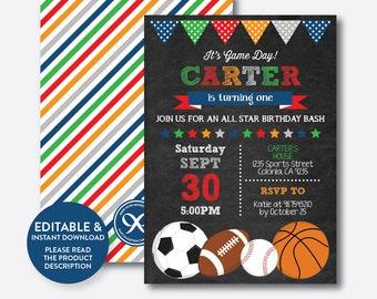 Instant Download, Editable All Star Birthday Invitation, All Star Invitation, Sports Invitation, All Star Boy Invitation,Chalkboard(CKB.81B)