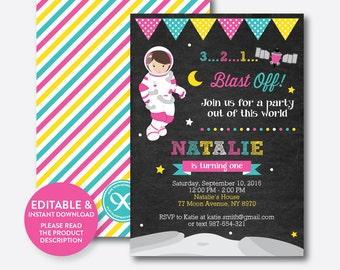 Instant Download, Editable Astronaut Birthday Invitation, Astronaut Invitation, Space Invitation, Outer Space, Girl, Chalkboard (CKB.67)