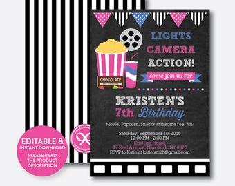 Instant Download, Editable Movie Birthday Invitation, Movie Invitation, Movie Night Invitation, Movie Ticket Invitation, Chalkboard(CKB.170)