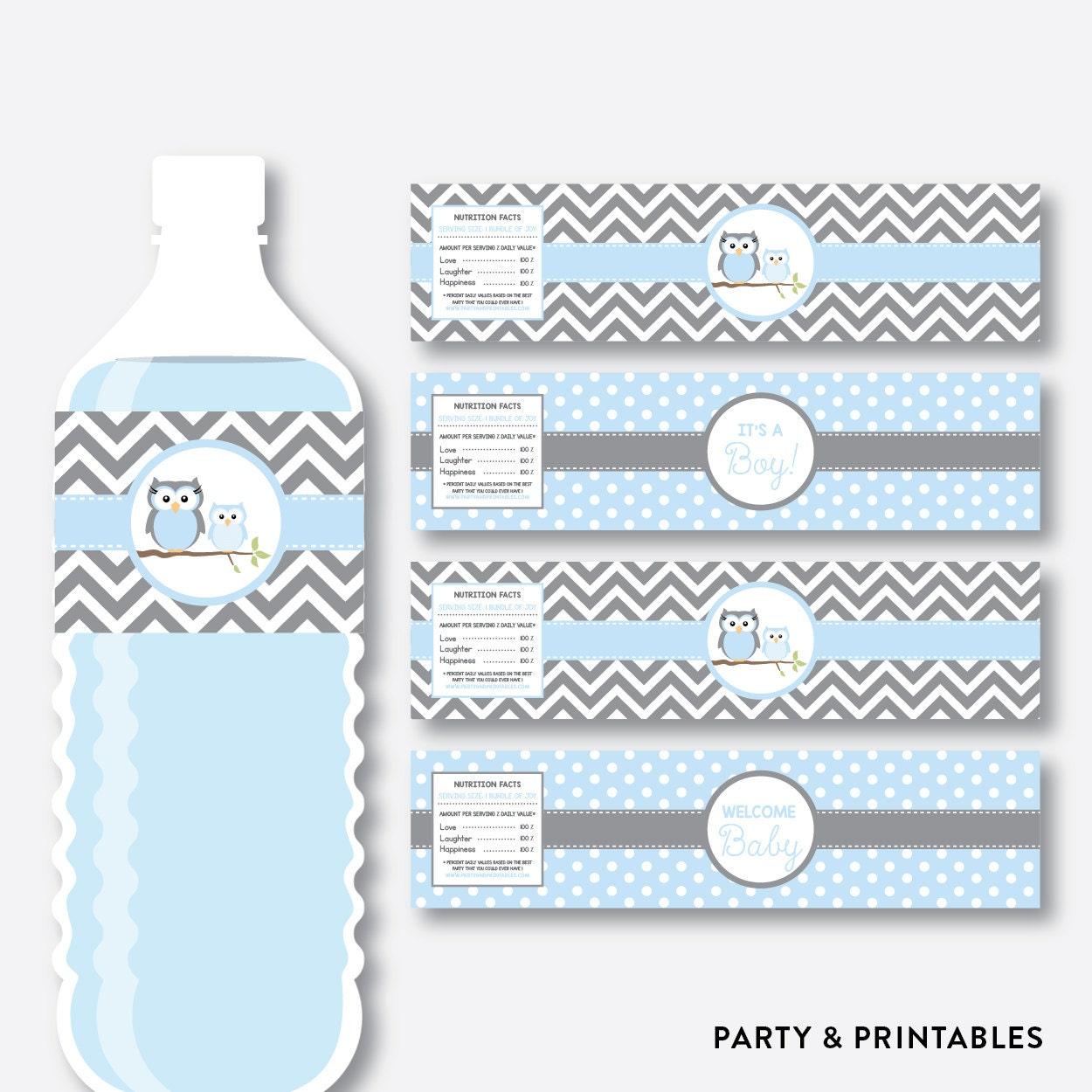 Descarga Inmediata Etiquetas De Botellas De Agua De Buho