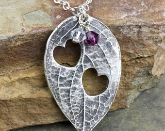 Mother's Day Gift, Mother's Necklace, Two Children, Custom Birthstones, Mother Grandmother Wife Gift, Anniversary Gift, Fine Silver Leaf