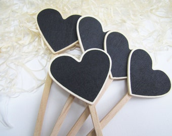 Heart Chalkboard Signs, Chalkboard Numbers, Cake Toppers, Wedding Decor Chalkboard, Rustic Table Numbers, Chalkboard Stakes
