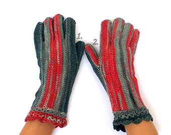 Gray Red Gloves with Fingers Women's Gloves with Fingers Girl's Gloves with Fingers Fingerless Gloves Crochet Finger Gloves Knitted Gloves
