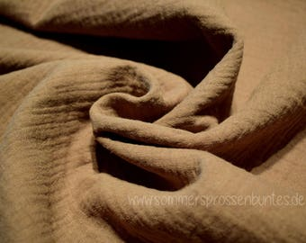 Muslin Mullstoff Double Gauze 100% organic cotton, taupe/mud