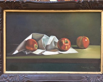 Photo Real Still Life Painting of Apples signed by Seung Min and framed.