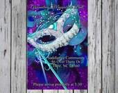 Masquerade Ball Invitation-Masquerade Mask Invitation- Purple and Teal Masquerade Ball Invitation-Lace Mask Ball invite-Hidden Mask Ball