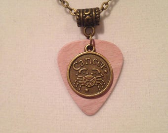 Zodiac Sign Guitar Pick Necklace Cancer