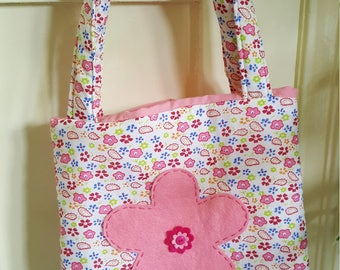 Flower applique bag. Girls tote bag