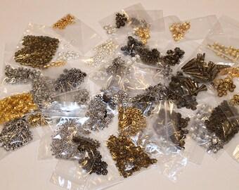 Huge Bead Cap Destash, 50 different varieties, Bead Destash, B176