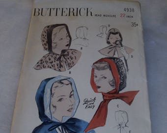 Butterick 4938 / Hoods in Three Styles / Vintage Hoods / Unprinted Pattern  / Quick and Easy / Hood and Capelet