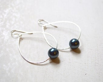 Black Pearl Earrings, Sterling Pearl Earrings, Teardrop Pearl Earrings