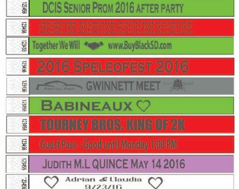 Custom 3/4 in Printed Tyvek Wristbands in a Variety of Colors, Event Club Party Wedding Birthday Bat/Bar Mitzvah