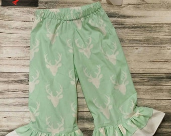 Girl's Deer Double Ruffle Pants