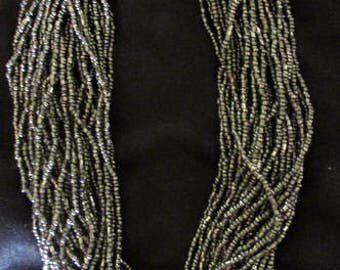 Bronze Beaded Multi Strand Necklace with Spring Closure