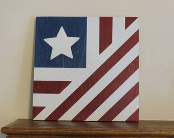2' x 2' Barn Quilt Block / American Flag / Fourth Of July / Patriotic / Red White Blue / Farmhouse / Fence / Porch / Shed / House / Home