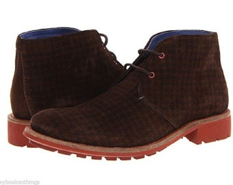 RETRO Style  100% Authentic Ted Baker Mens Degallo Houndstooth Brown Suede Leather Boots Size 9