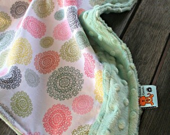 Waterproof Change Mat made with cotton and minky, featuring Pretty Little Things Fabric