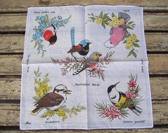Vintage Ladies Handkerchief - Hankie - Australian Birds - Souvenir