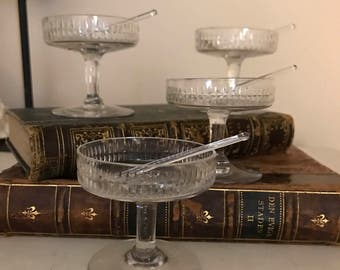 FREE SHIPPING - Set of Four Vintage Cut Glass Salt Cellars with Glass Spoons