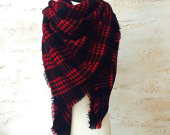Red blanket scarf, gift for wife, winter scarf, gift for her, women's scarves, christmas gift for wife, plaid scarf, blanket scarf wool