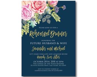 Floral Rehearsal Dinner Invitation, Watercolor Floral, Rehearsal Dinner, Flowers Invitation, Gold Glitter, Watercolor Invitation #CL322