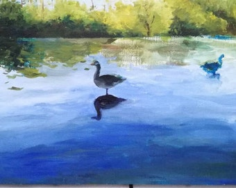 Tableau peinture à l'huile paysage lac du héron