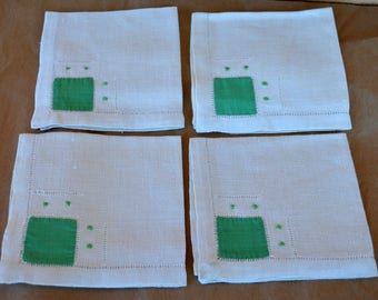 4 Vintage Linen Napkins with Green Fabric Squares & Satin Stitch Details.  Free Shipping in USA.