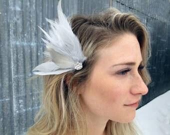 Wedding Hair Accessories, Bridal Hair, Feather Hairpiece, Bridal Feather Hair Accessory, Feather Fascinator, Feather Hair Accessory
