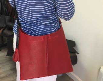 Leather crossbody, leather bag, crossbody leather bag, leather woman bag, leather handbag, leather bag BRI- RED!