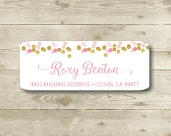 Gold, Pink & Blush, Confetti, Return Address Label, Personalized, MATTE, All Occasions, Special Events