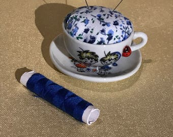 Vintage Minature Teacup Pin Cushion