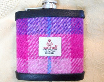 Hip flask Harris Tweed purple and Pink fromTweed with a Twist gift for womens or mens gift best man usher groomsman Valentines from Scotland