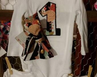Birthday Shirt, First Birthday Shabby Chic Bodysuit and head wrap