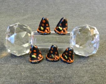 Set of Halloween Witches Hat Lampwork Beads - Black, Orange, Green