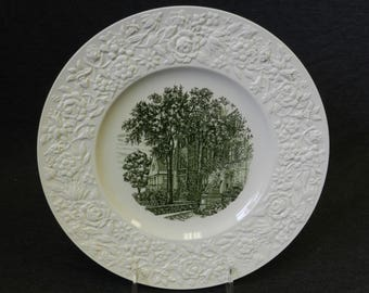 Vintage Wedgwood China Gurley Hall Russell Sage College Green Transferware Plate - Etruria Barlaston Made in England