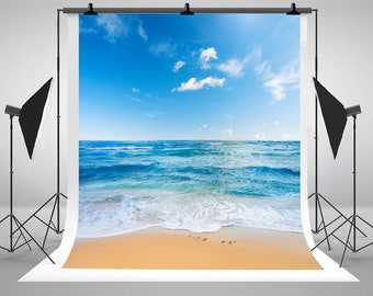 Ocean Beach Photography Backdrops Sunny Day Blue Sky White Cloud Photo Backgrounds for Wedding Studio Props